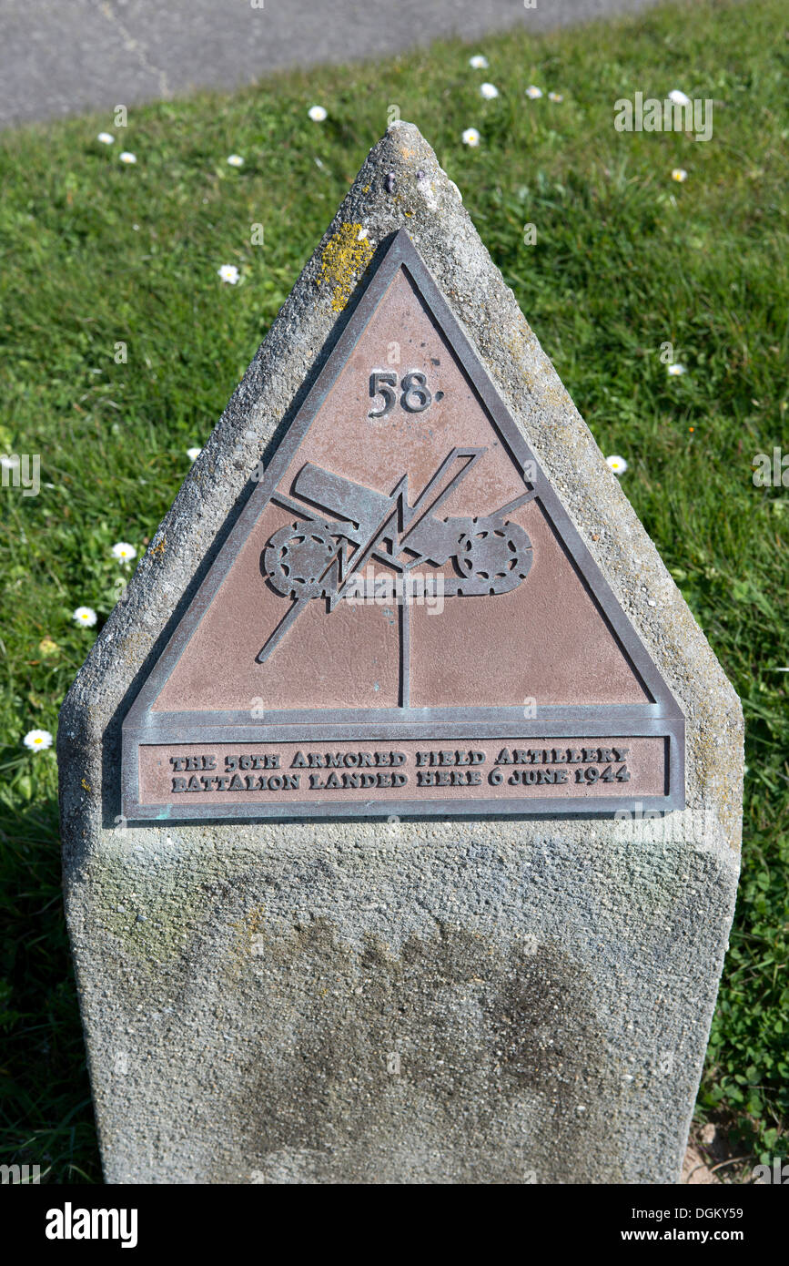 Memorial stone in honour of the landing of 58th U.S. Battalion on 6 June 1944, Omaha Beach, Vierville-sur-Mer, Normandy, Stock Photo