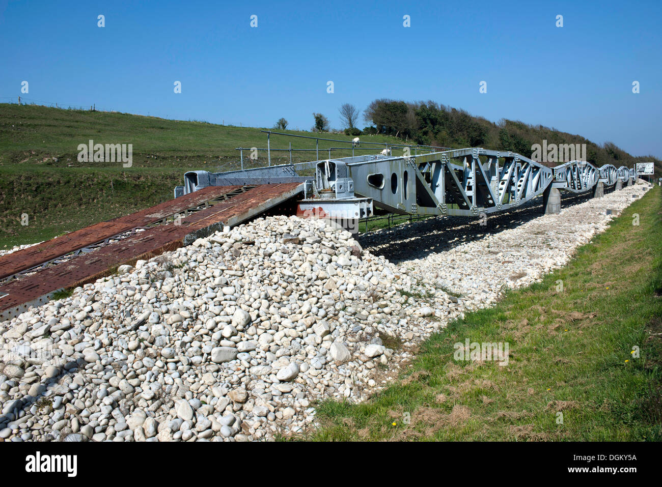 Landing bridge of the U.S. Army at Omaha Beach, reconsruction, Vierville-sur-Mer, Normandy, France, Europe - Stock Image