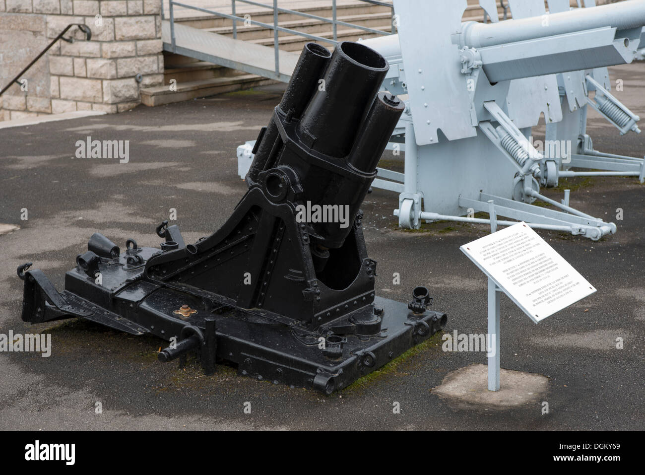 German trench mortar in front of the memorial to the battle, First World War, Verdun, Lorraine, France, Europe - Stock Image