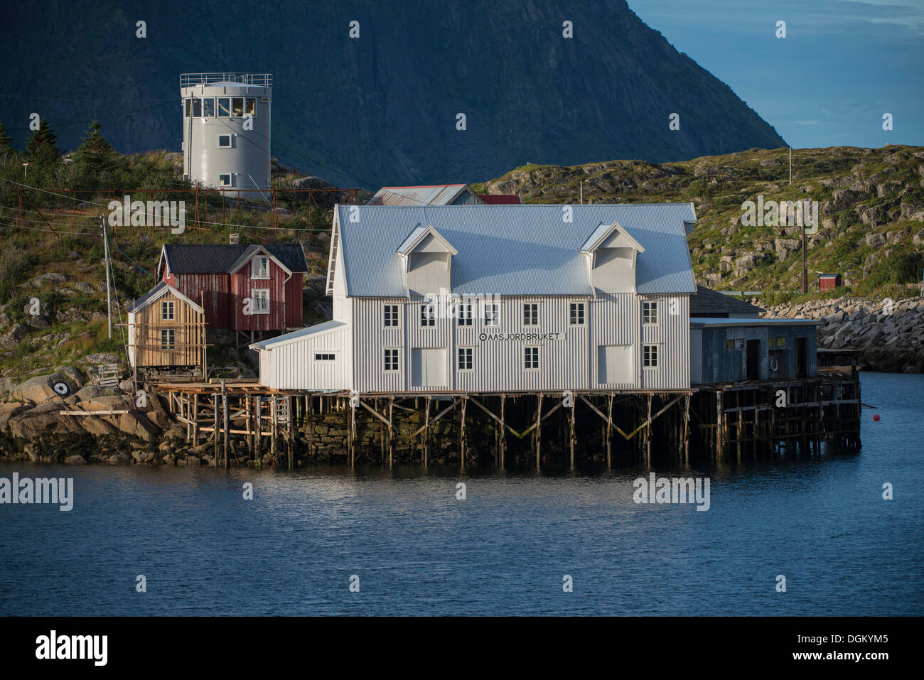 White warehouse by the fjord, modern tower or silo at back, Fischerdorf Skrova,Inselgruppe Skrova, Vestfjord, Lofoten, Nordland - Stock Image