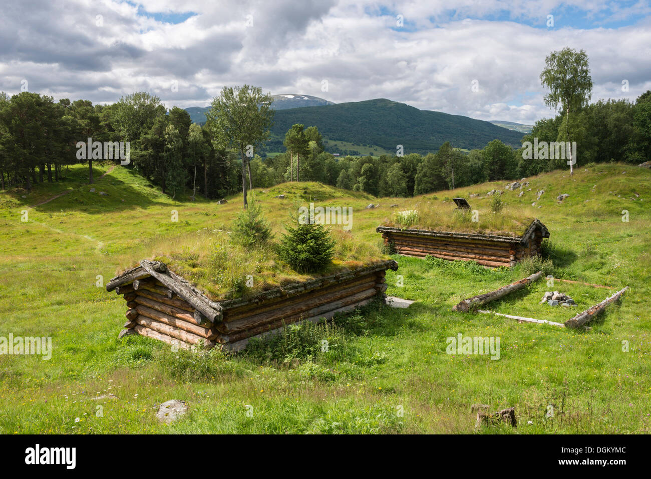 Viking grave hills, meadows and woodland, reconstructed log houses, 11th Century, at front, Vang near Oppdal, Sør - Stock Image