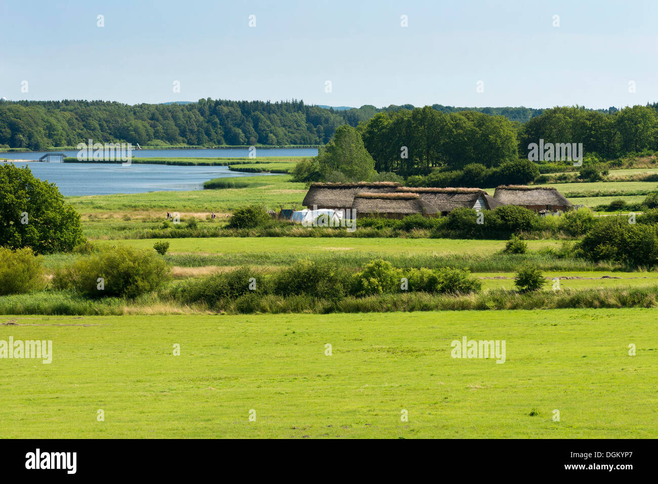 Thatched cottages beside a lake, pasture at the front, Hedeby Viking Museum, open-air museum, Busdorf, Schleswig-Holstein - Stock Image