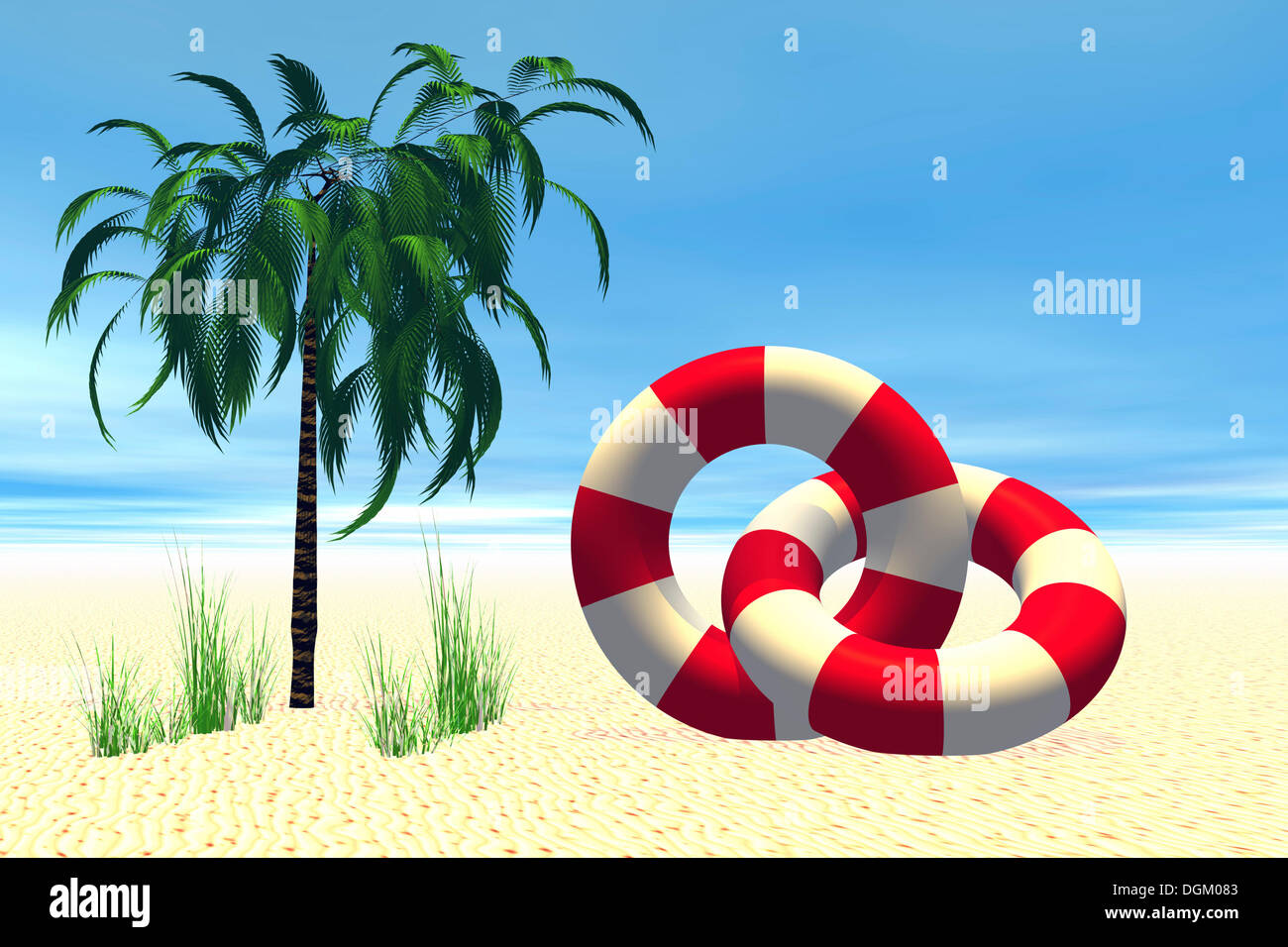 Two life buoys and a palm tree, 3D computer graphics - Stock Image
