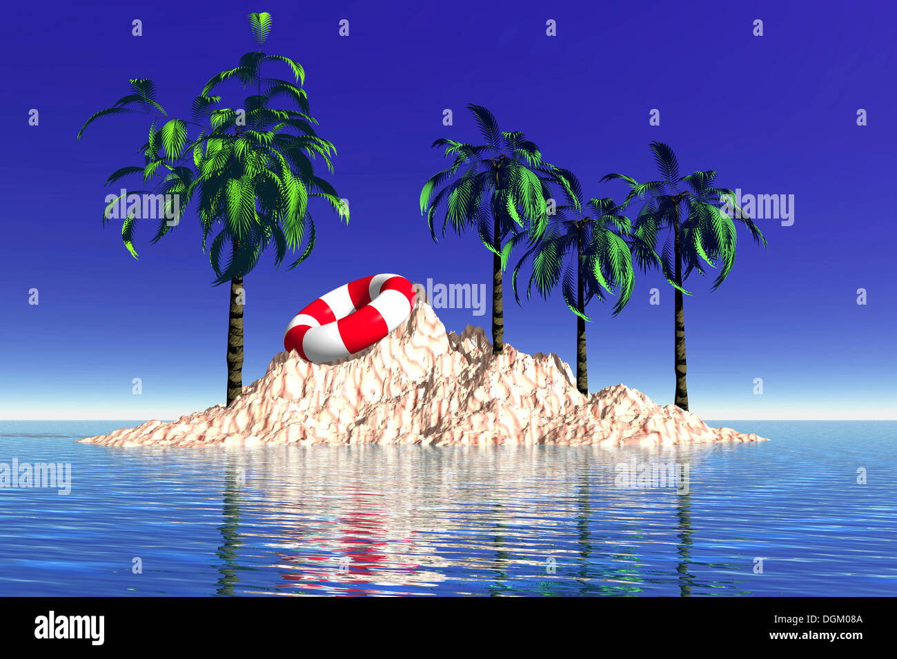 Island with palm trees and a life ring, 3D graphics - Stock Image