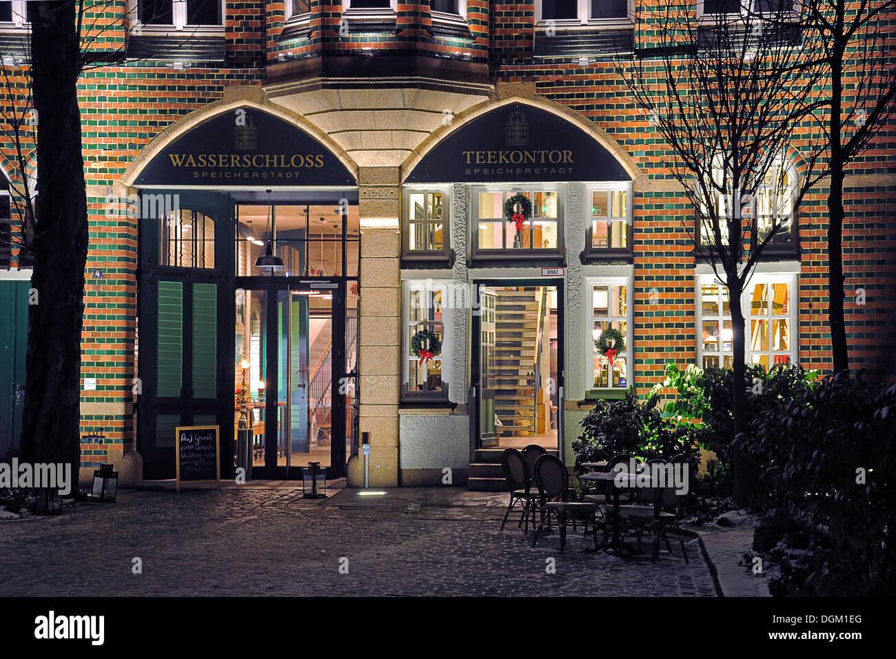Restaurant Wasserschloss At Speicherstadt Stock Photos