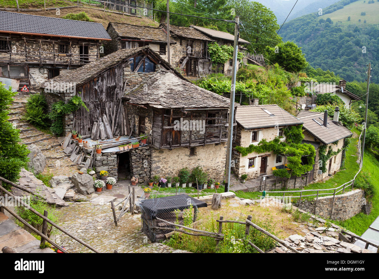 Village of Indemini, Ticino, Switzerland, Europe - Stock Image
