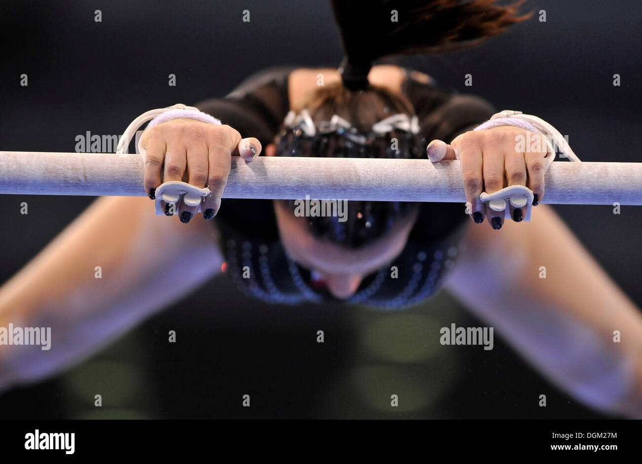 Detail, gymnast with hand protection for the high bar and uneven bars, Marta Pihan-Kulesza, Poland Stock Photo