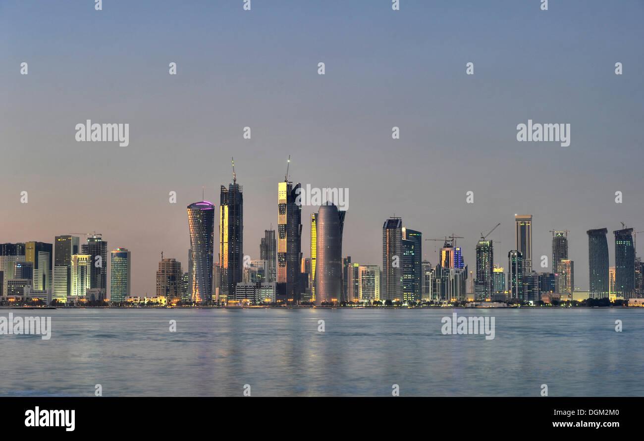 Skyline of Doha, Tornado Tower, Navigation Tower, Peace Towers, Al-Thani Tower, Doha, Qatar, Persian Gulf, Middle East, Asia - Stock Image
