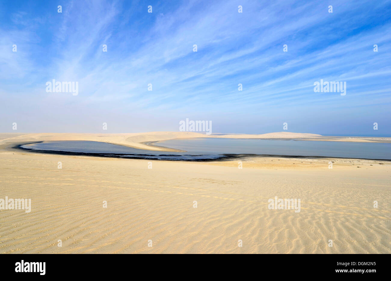 Khor Al Udeid Beach, Khor El Deid, Inland Sea, desert miracle of Qatar, Emirate of Qatar, Persian Gulf, Middle East, Asia - Stock Image
