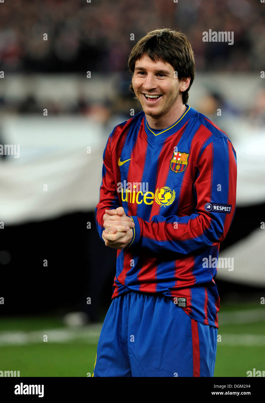 Lionel Messi, FC Barcelona, laughing - Stock Image