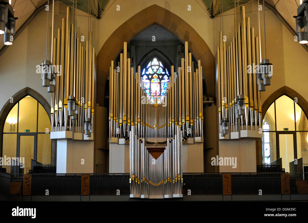 New Muehleisen pipe organ, indoor photo of Stiftskirche church in Stuttgart, landmark and the oldest Protestant church of - Stock Image