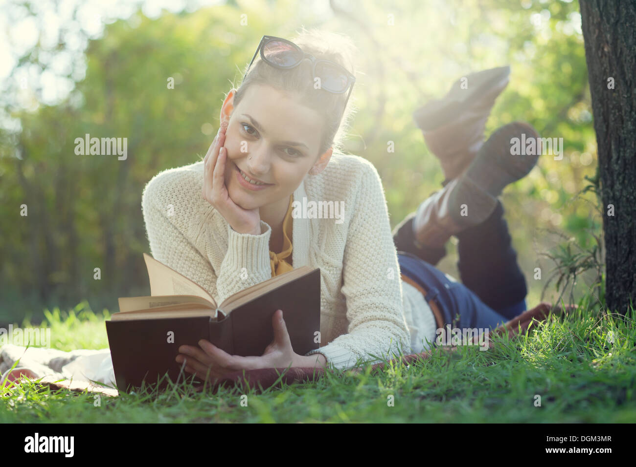 book, student, cute, girl, beautiful, glasses, hipster, people, person, portrait, caucasian, holding, one, smile, human, young, - Stock Image