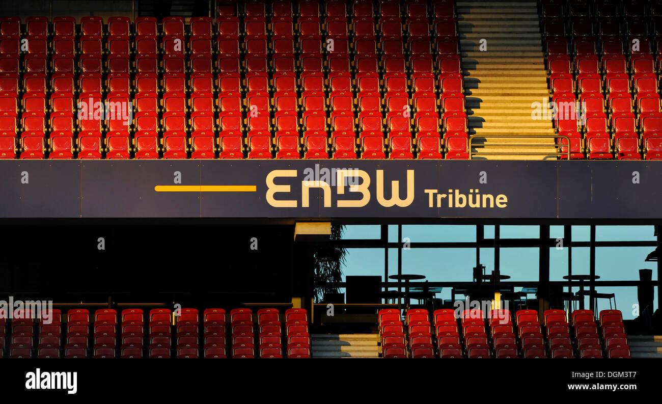 Empty rows of stadium seating, EnBW Tribuene, Mercedes-Benz Arena, Stuttgart, Baden-Wuerttemberg - Stock Image