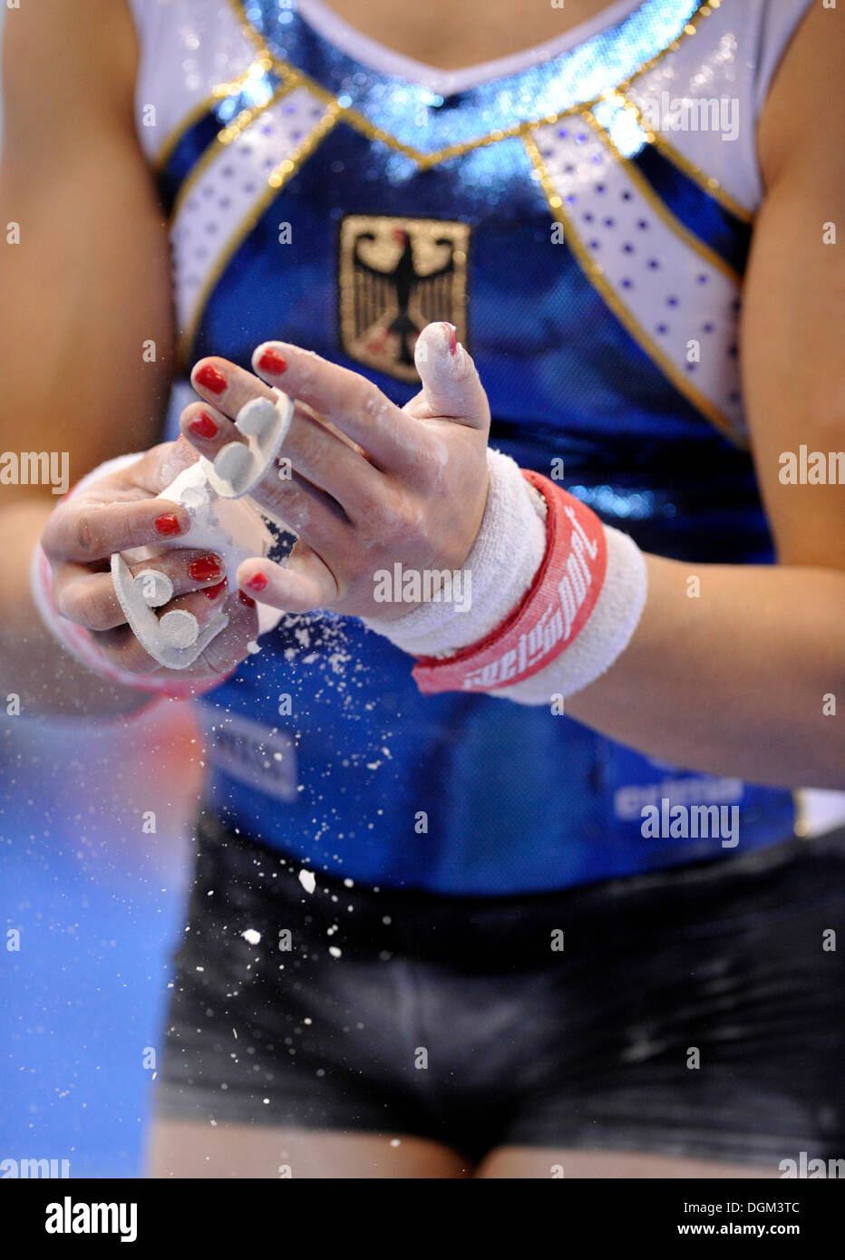 Elisabeth Seitz, Germany, rubbing magnesia on her hands, EnBW Gymnastics World Cup from 12 - 14.11.2010, 28th DTB Stock Photo