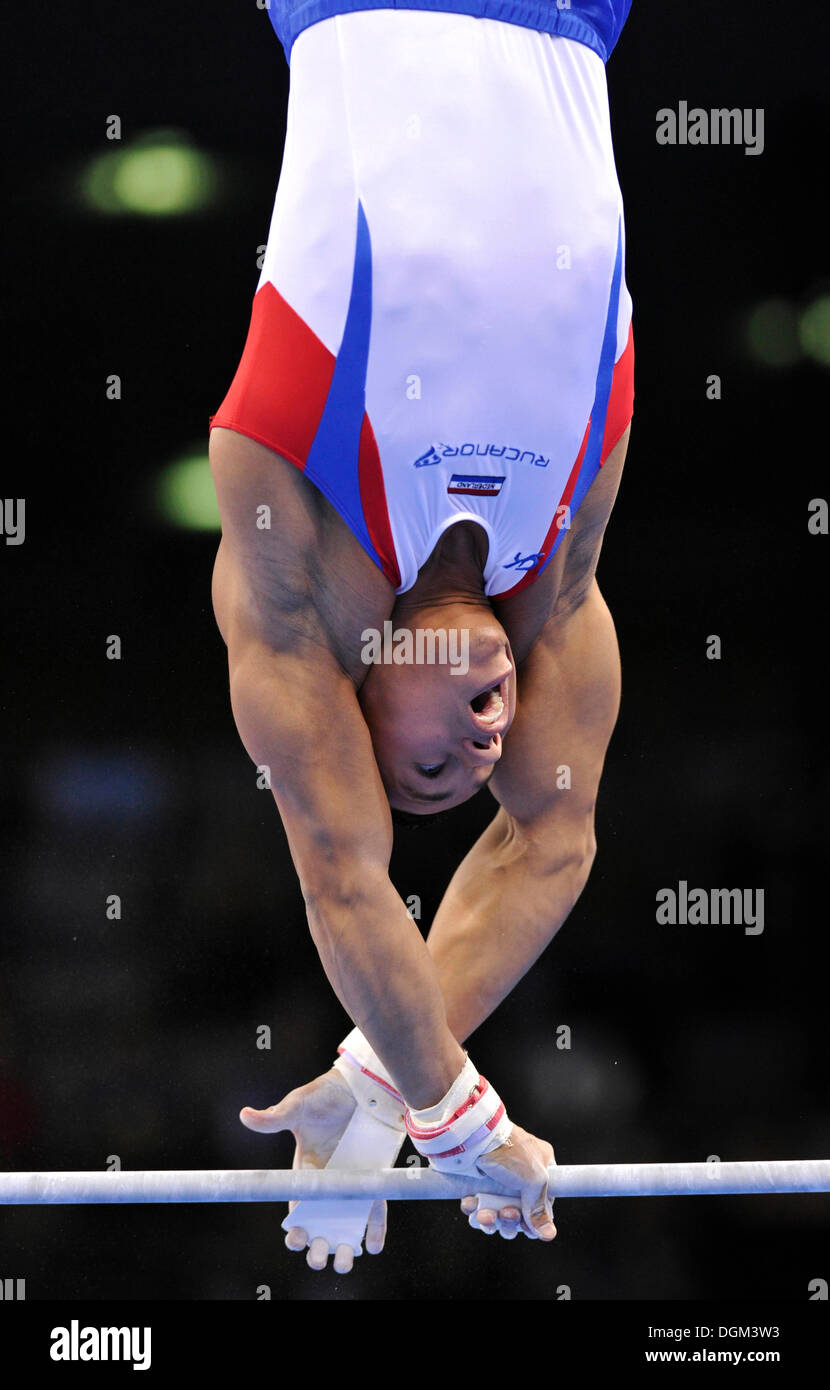 Jeffrey Wamm, NED, on the horizontal bar, EnBW Gymnastics World Cup 2010, 28th DTB-Cup, Stuttgart, Baden-Wuerttemberg - Stock Image