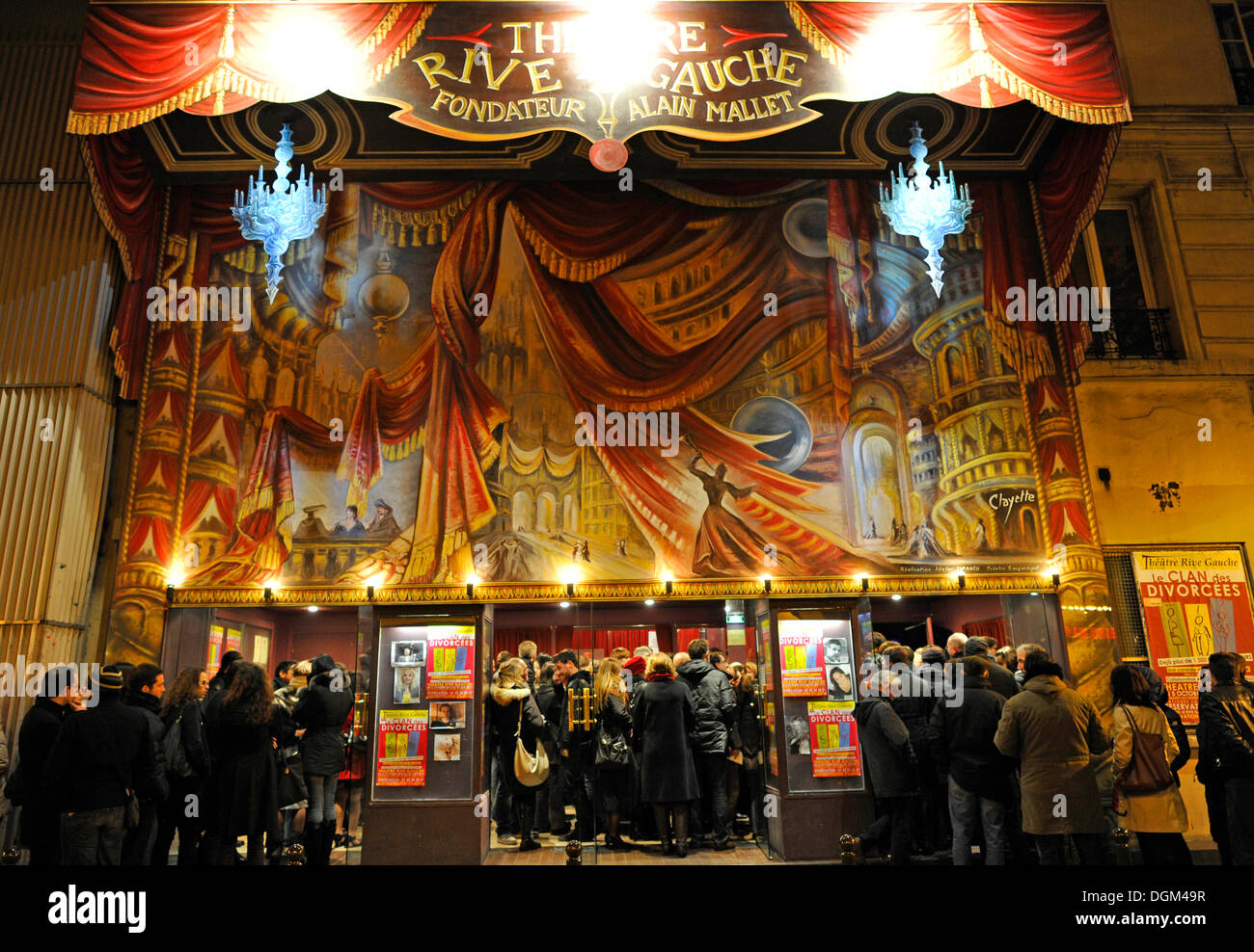 Night shot, people in front of the box office, theater, Theatre Rive Gauche theater, Gaité theater district, Paris, France - Stock Image