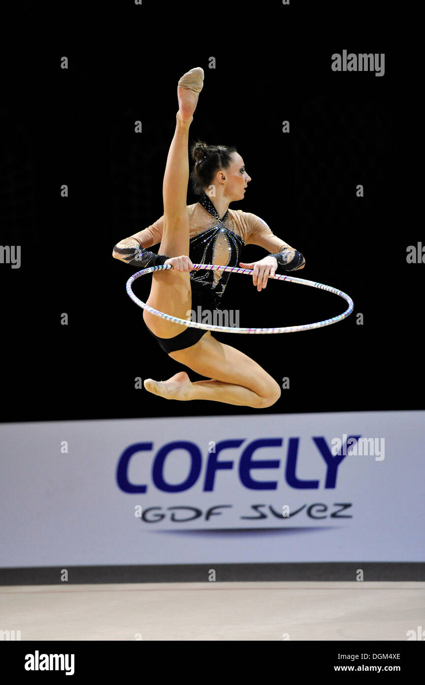 Delphine LEDOUX, FRA, with hoop, rhythmic gymnastics, Grand Prix Thiais, 09. - 10.04.2011, Paris, France, Europe - Stock Image