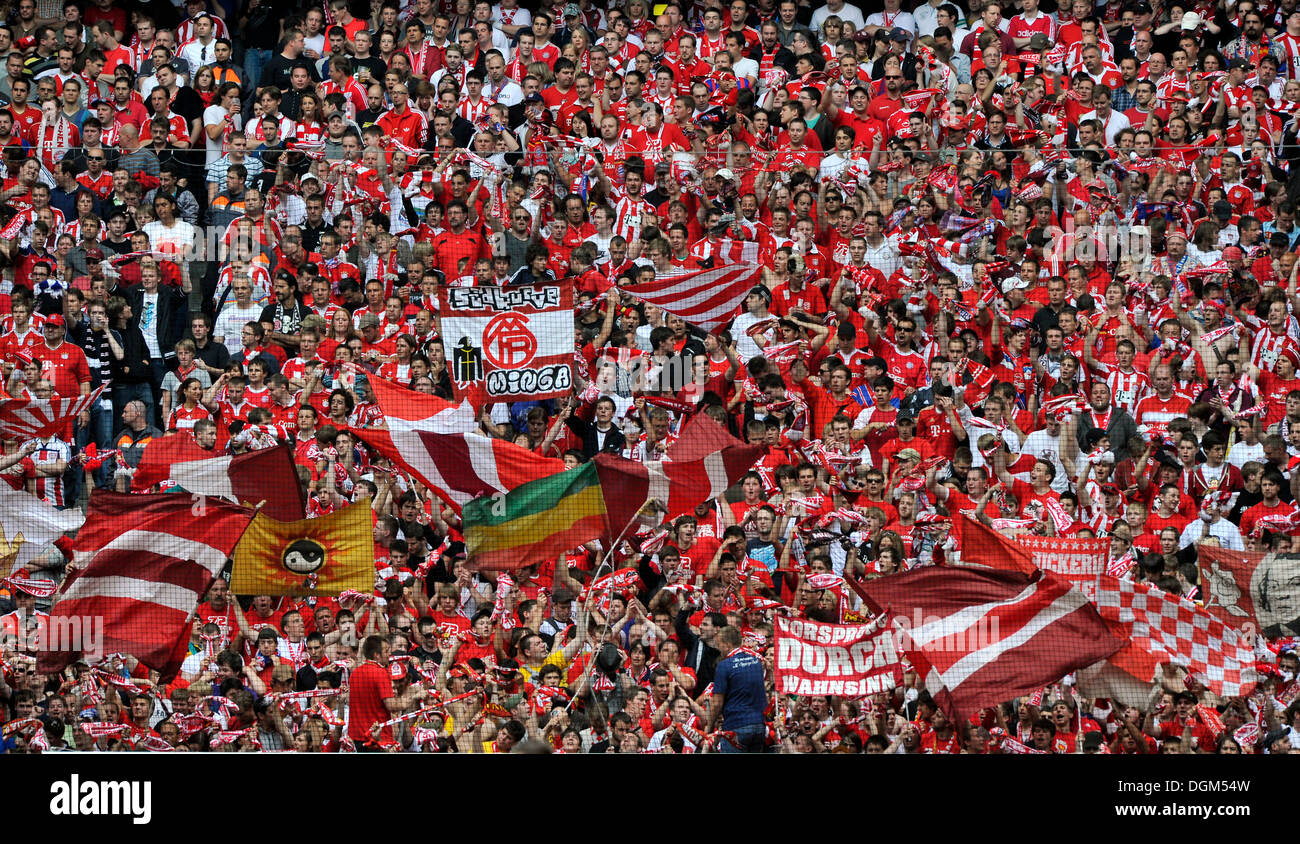 Fan block, fan curve of FC Bayern Muenchen supporters, Allianz Arena, Munich, Bavaria - Stock Image