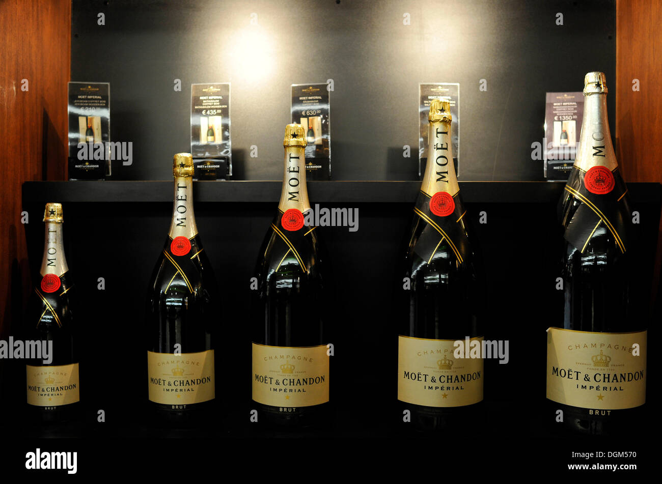 Champagne bottles in various sizes, Imperial, Moet et Chandon winery, LVMH luxury goods group, Louis Vuitton Moet - Stock Image