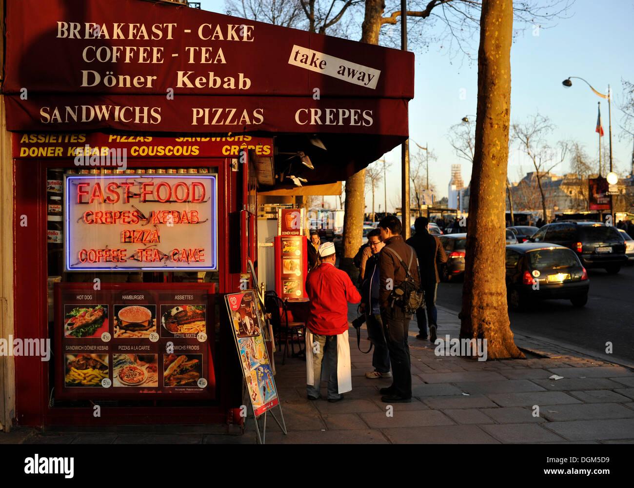 Fast Food street restaurant, Paris, France, Europe, PublicGround - Stock Image