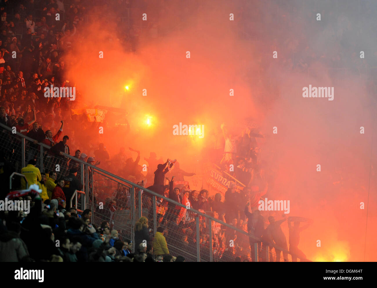 Pyrotechnics, hooligans, fans, fireworks, Wirsol Rhein-Neckar-Arena, Sinsheim-Hoffenheim, Baden-Wuerttemberg - Stock Image