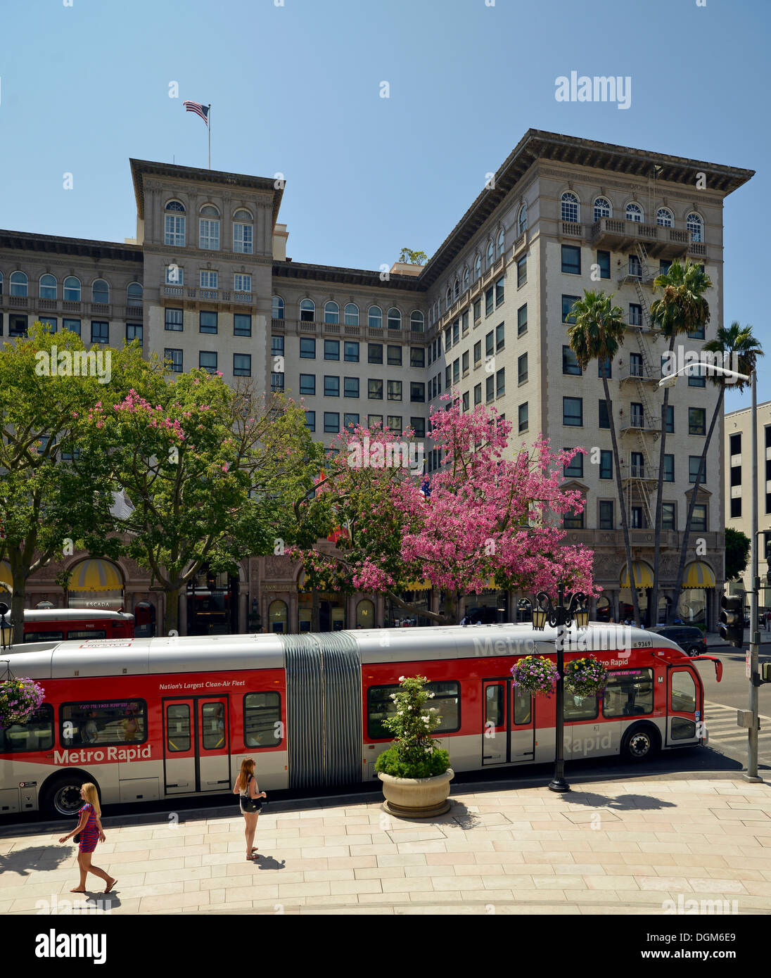 Beverly Wilshire Four Seasons Hotel, known from the Film 'Pretty Woman' Wilshire Boulevard, Beverly Hills, Los Angeles - Stock Image