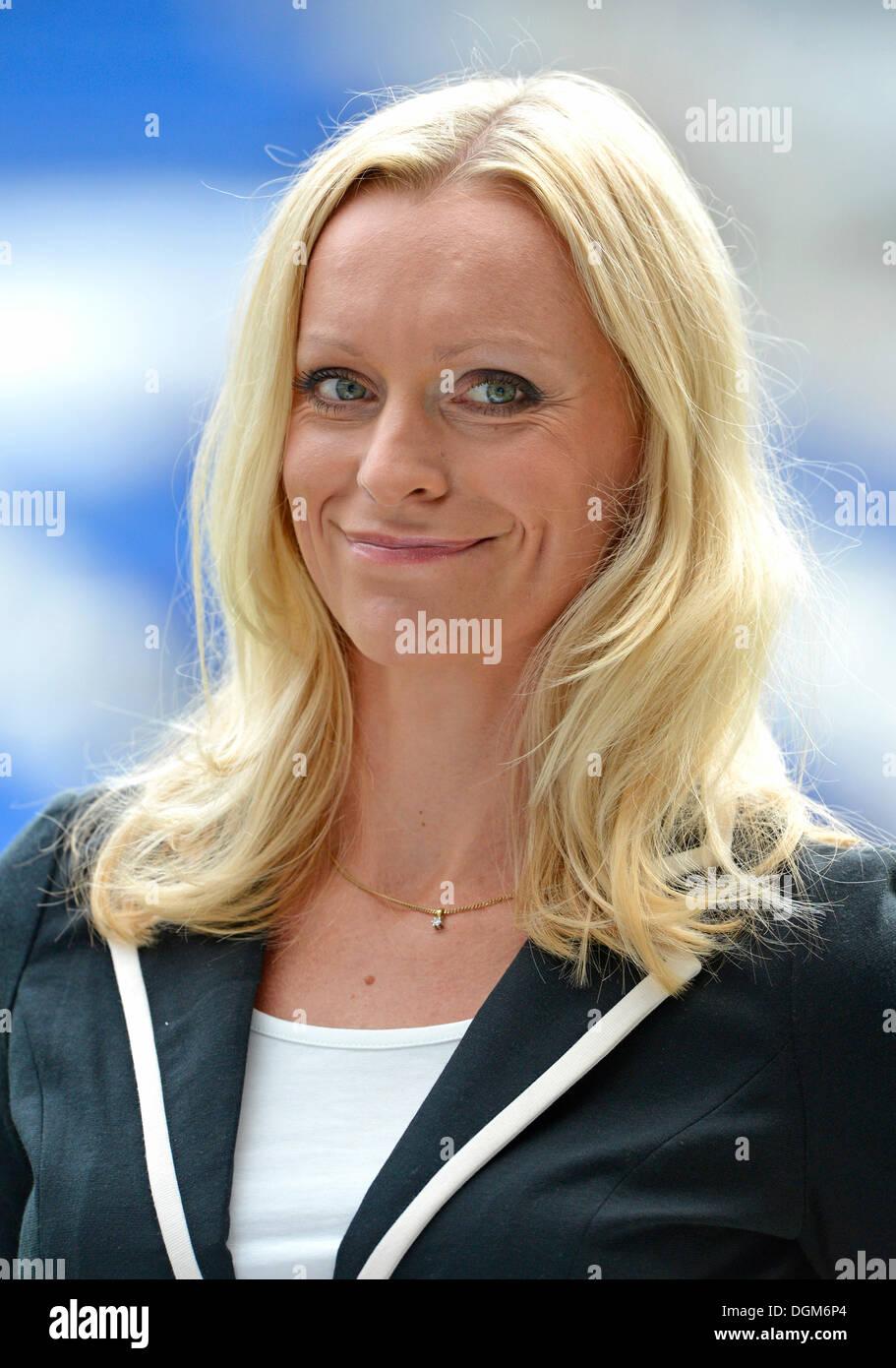 LIGA Total presenter Valeska Homburg, Portrait, Hoffenheim Wirsol Rhein-Neckar-Arena, Sinsheim, Baden-Wuerttemberg - Stock Image