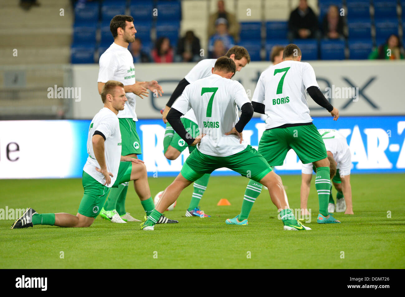 Team SpVgg Greuther Furth during warm-up wearing shirts of Boris VUKCEVIC, TSG 1899 Hoffenheim, because of his accident, Wirsol - Stock Image