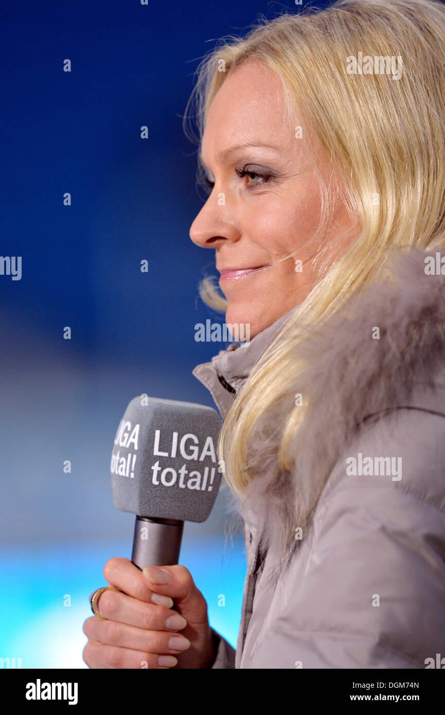 Presenter Valeska Homburg of the show LIGA Total, portrait, Wirsol Rhein-Neckar-Arena, Sinsheim-Hoffenheim, Baden-Wuerttemberg - Stock Image