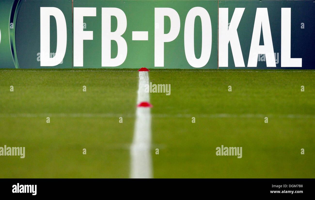 Stadium advertising board, DFB-Pokal, Mercedes-Benz Arena, Stuttgart, Baden-Württemberg, Germany Stock Photo