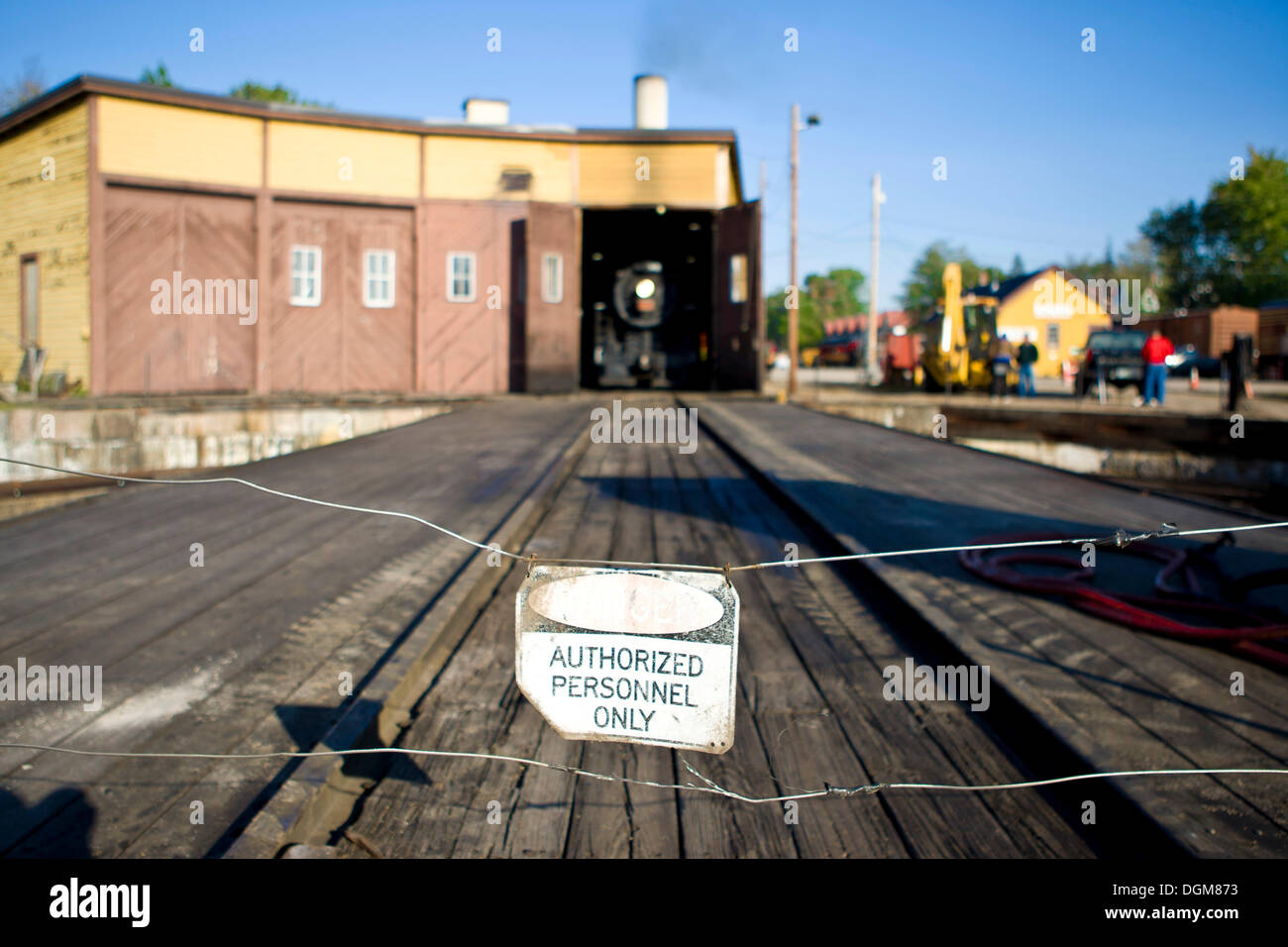 Rail track, sign 'Authorized personnel only', Conway Scenic Railroad, Conway, New Hampshire, USA - Stock Image