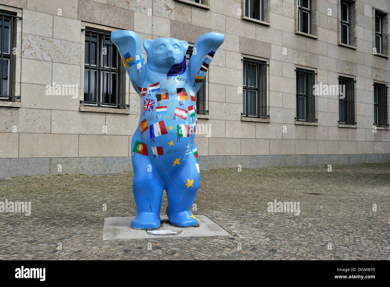 So-called Buddy Bear in front of Finance Ministry, Berlin - Stock Image