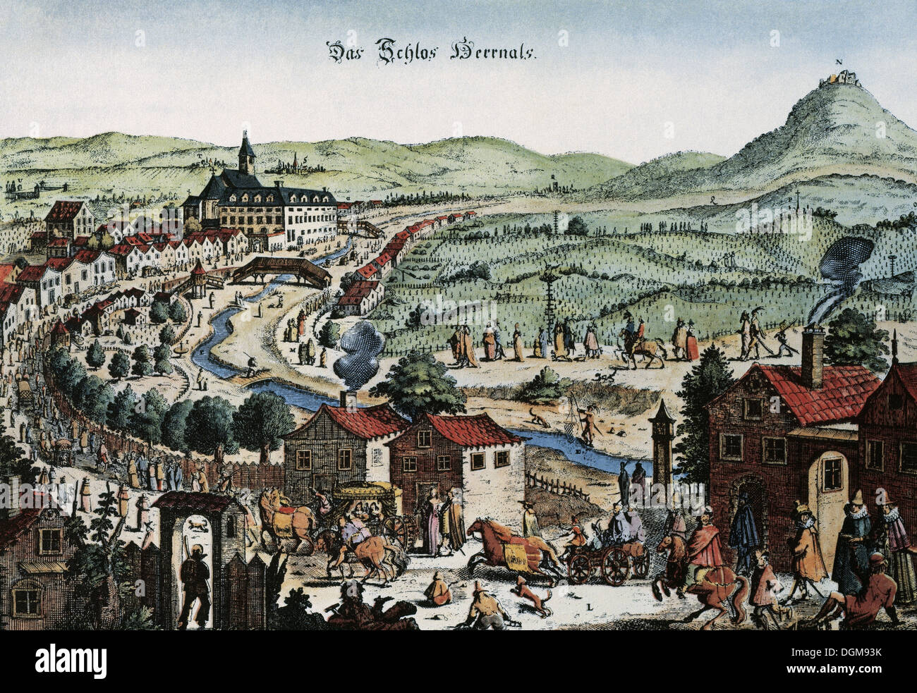 Austria. Vienna. Panorama of the city. Engraving, late 17th century, before being besieged by the Turks in 1683. - Stock Image