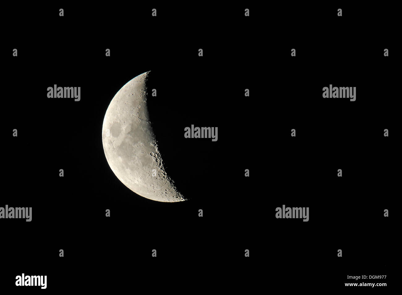 Half moon, as seen from the Northern hemisphere - Stock Image