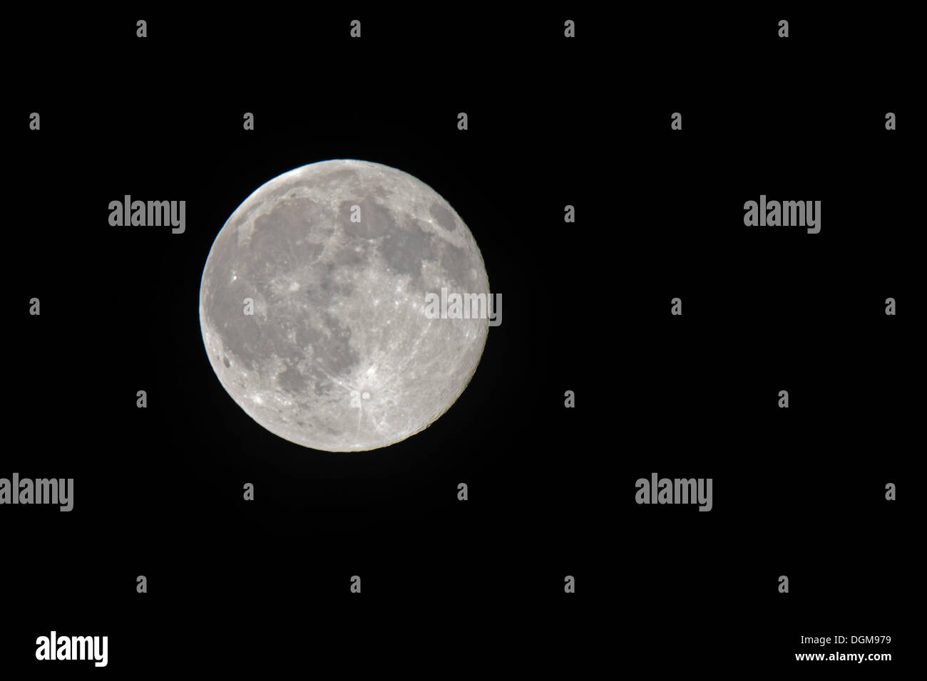 Earth moon, full moon as seen from the northern hemisphere - Stock Image