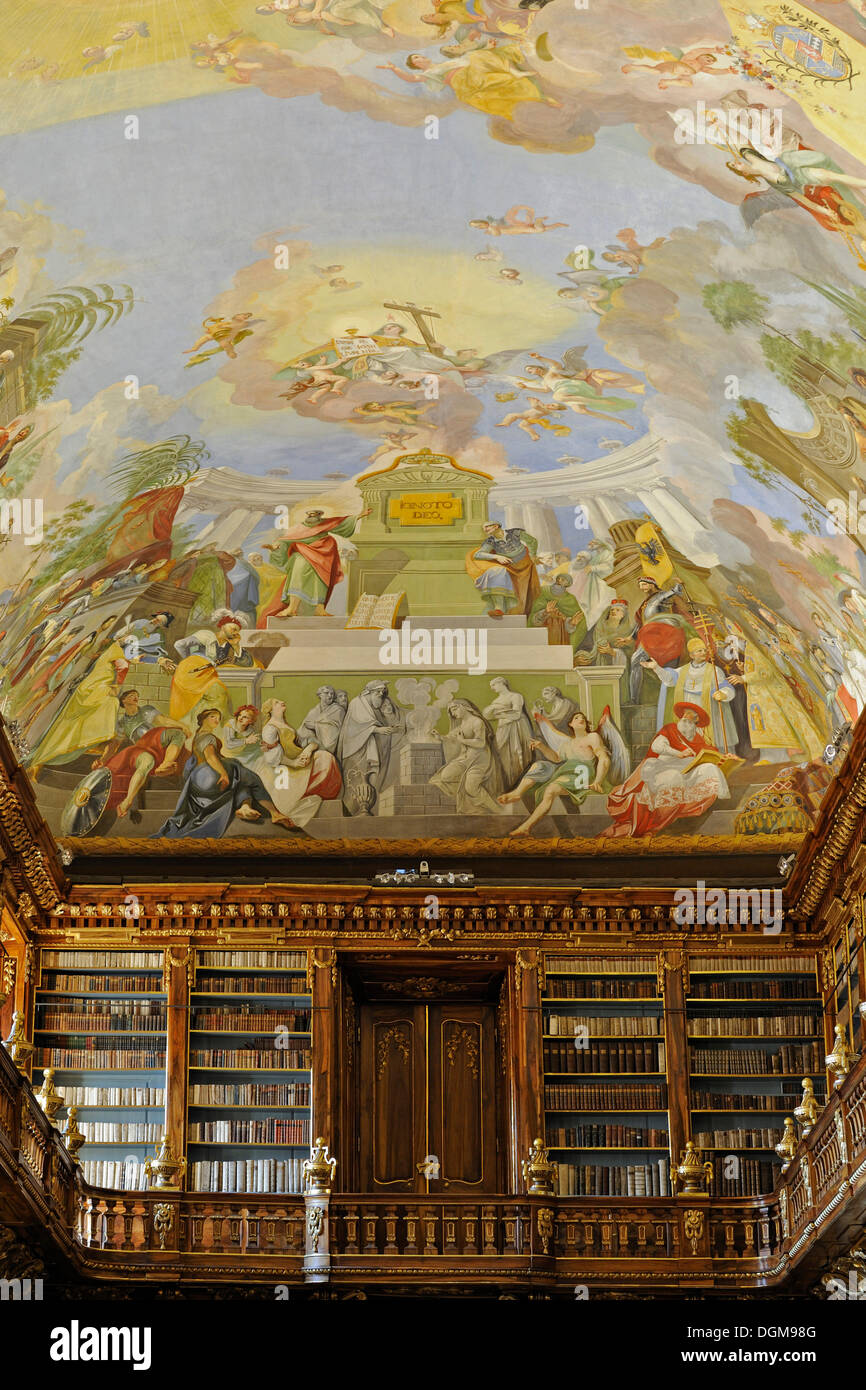 Philosophical Hall in the library of the Strahov Monastery, Prague, Czech Republic, Europe - Stock Image