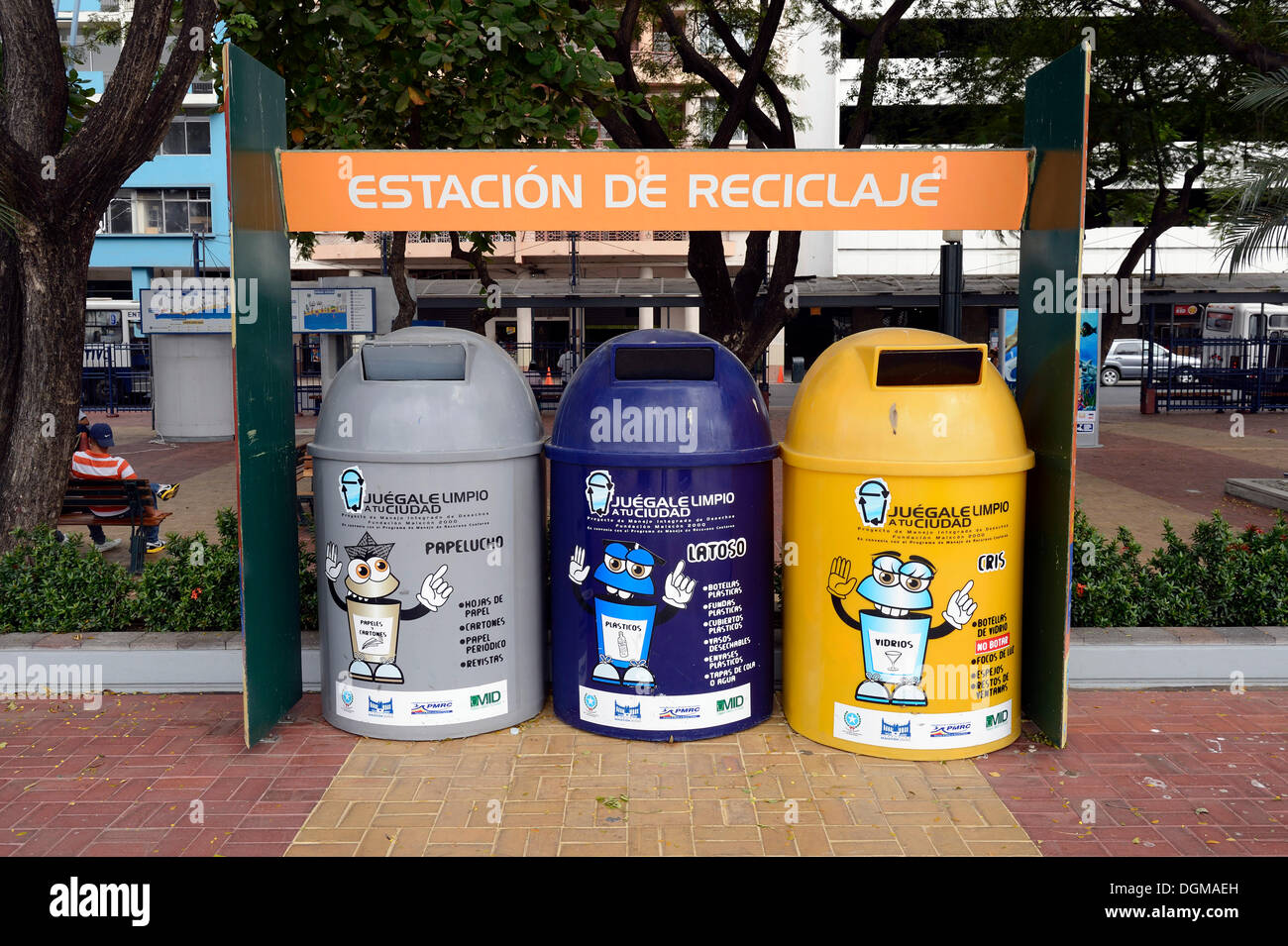 Containers for waste separation in the historic town centre of Guayaquil, Ecuador, South America - Stock Image