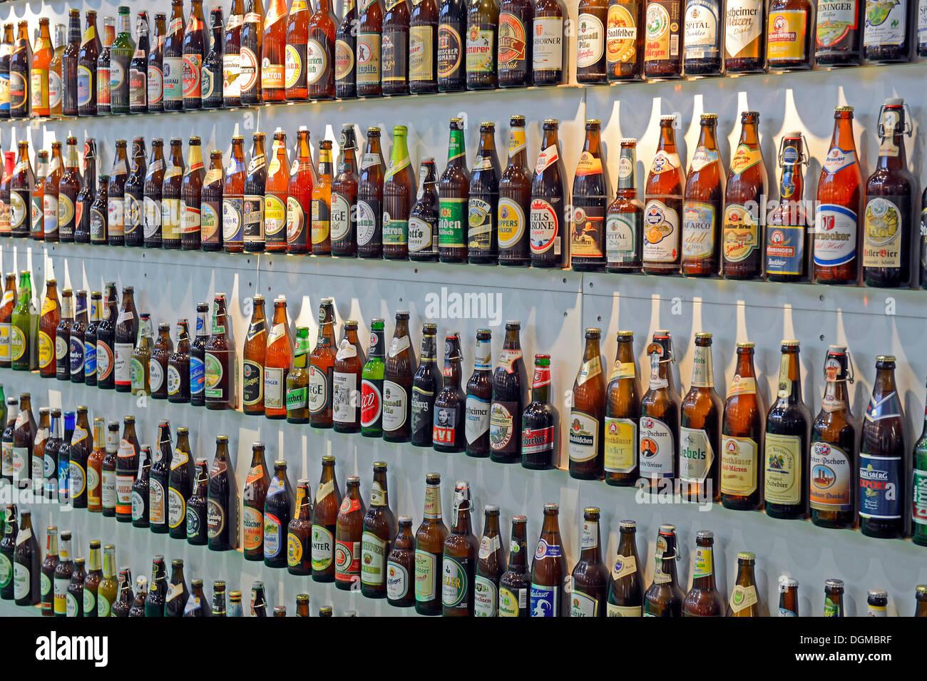 Various beers in bottles, Berlin International Green Week, trade fair, Berlin, Berlin, Berlin, Germany - Stock Image