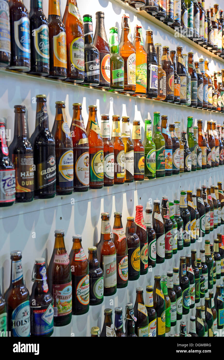 Various beers in bottles, Berlin International Green Week, trade fair, Berlin, Berlin, Germany - Stock Image