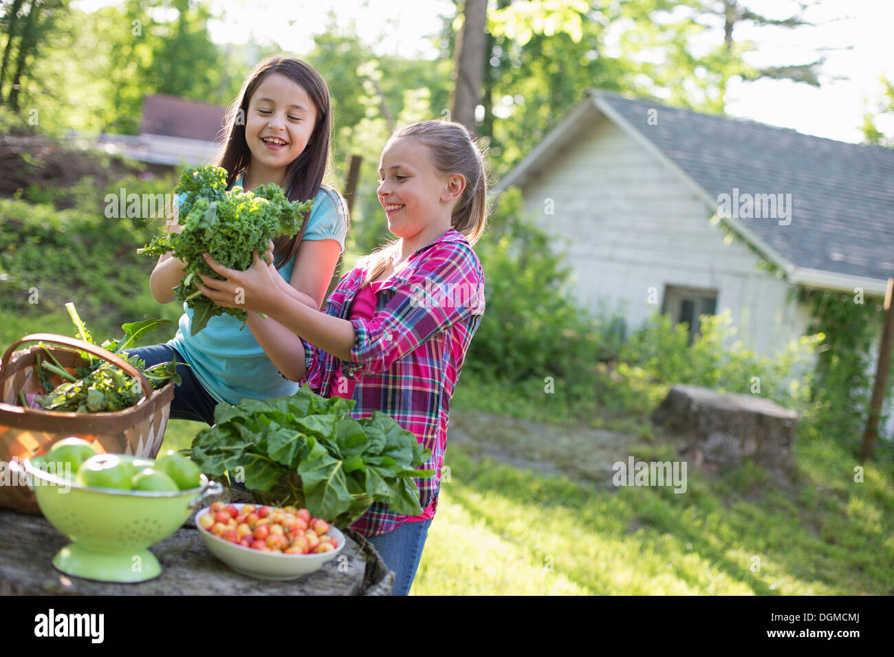 Organic farm. Summer party. Two young girls preparing salads. - Stock Image