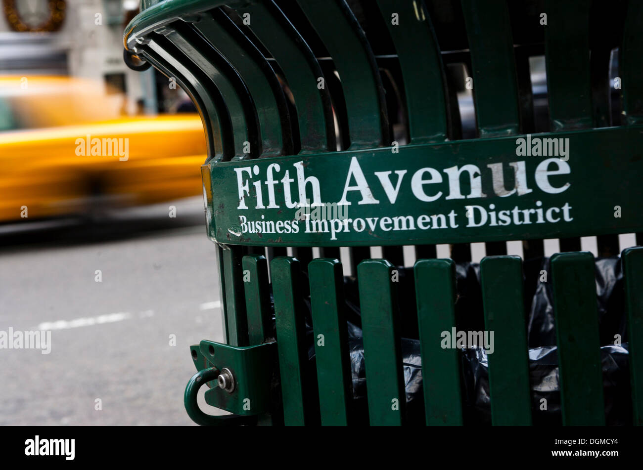 A trash can on Fifth Avenue, New York City, USA - Stock Image
