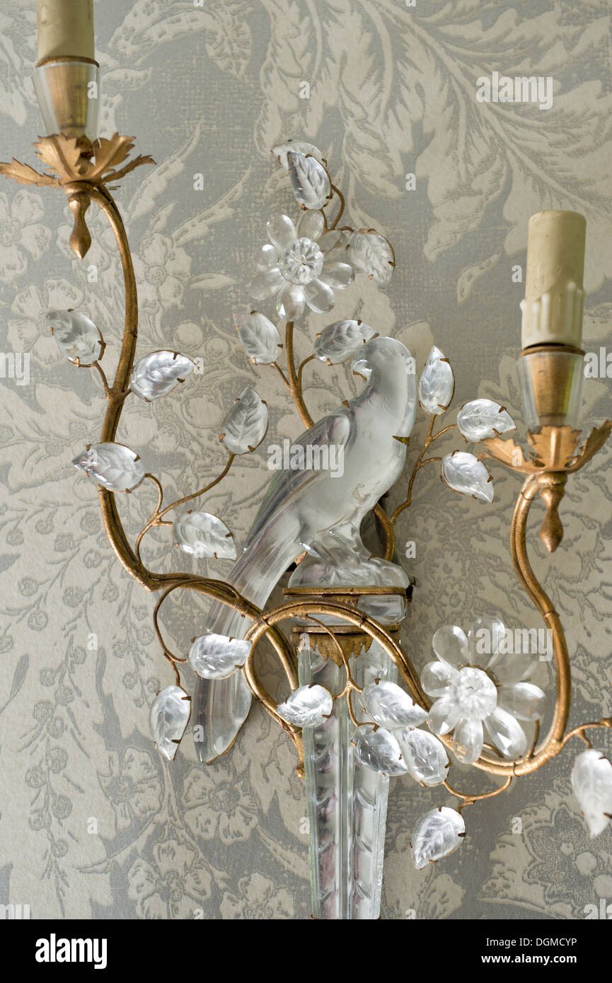 French 19th century gilt and crystal wall sconce - Stock Image