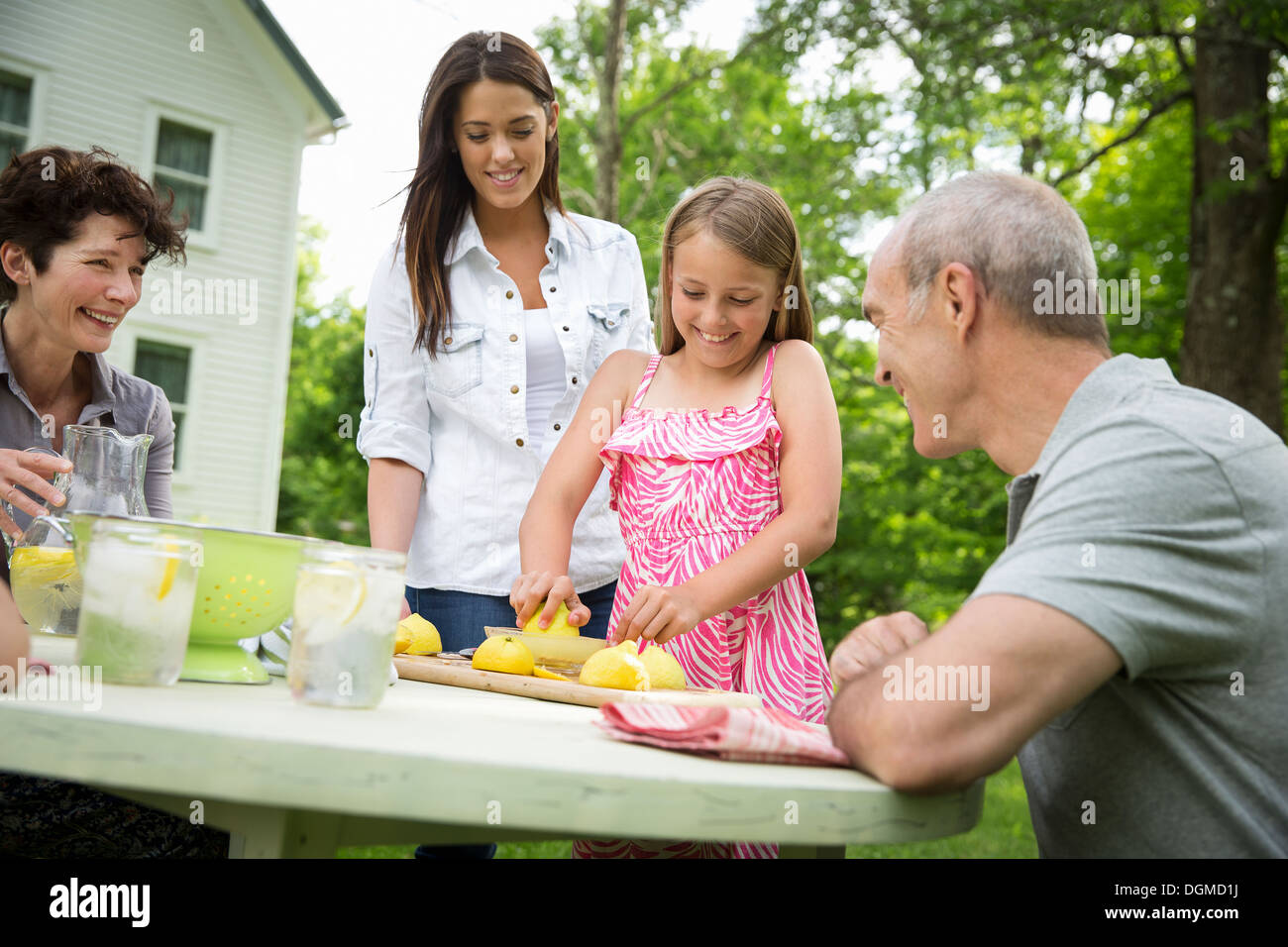 A summer family gathering at a farm. A girl slicing and juicing lemons to make lemonade. - Stock Image