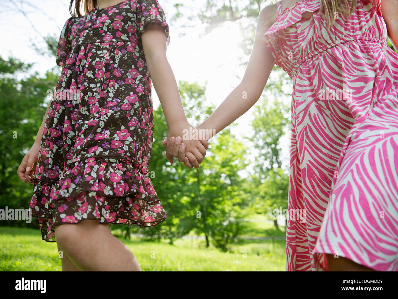 A summer family gathering at a farm. Two children holding hands and running across the grass. - Stock Image