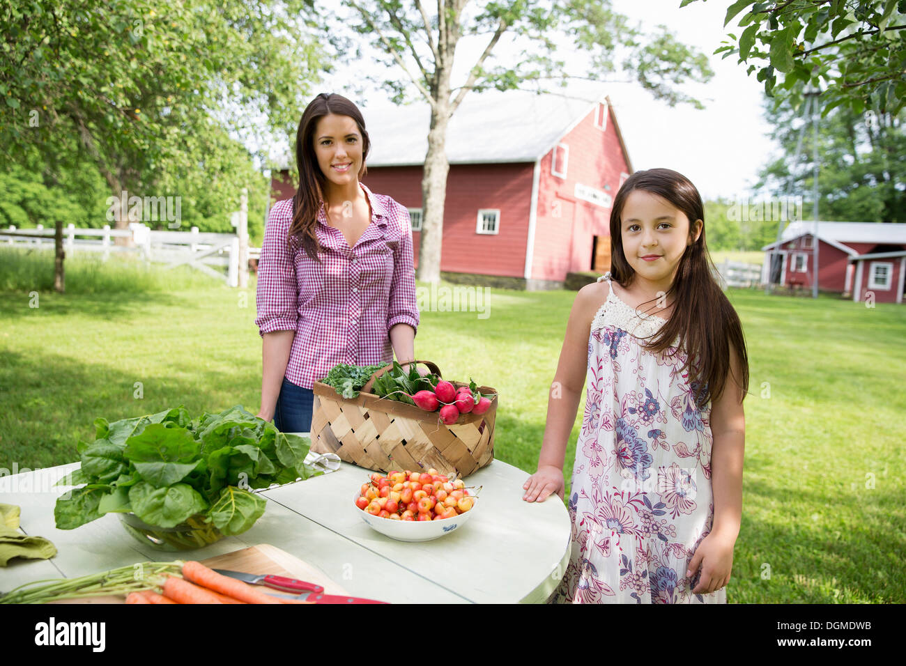Family party. Two people, girls, standing beside a table set for a summer meal. - Stock Image