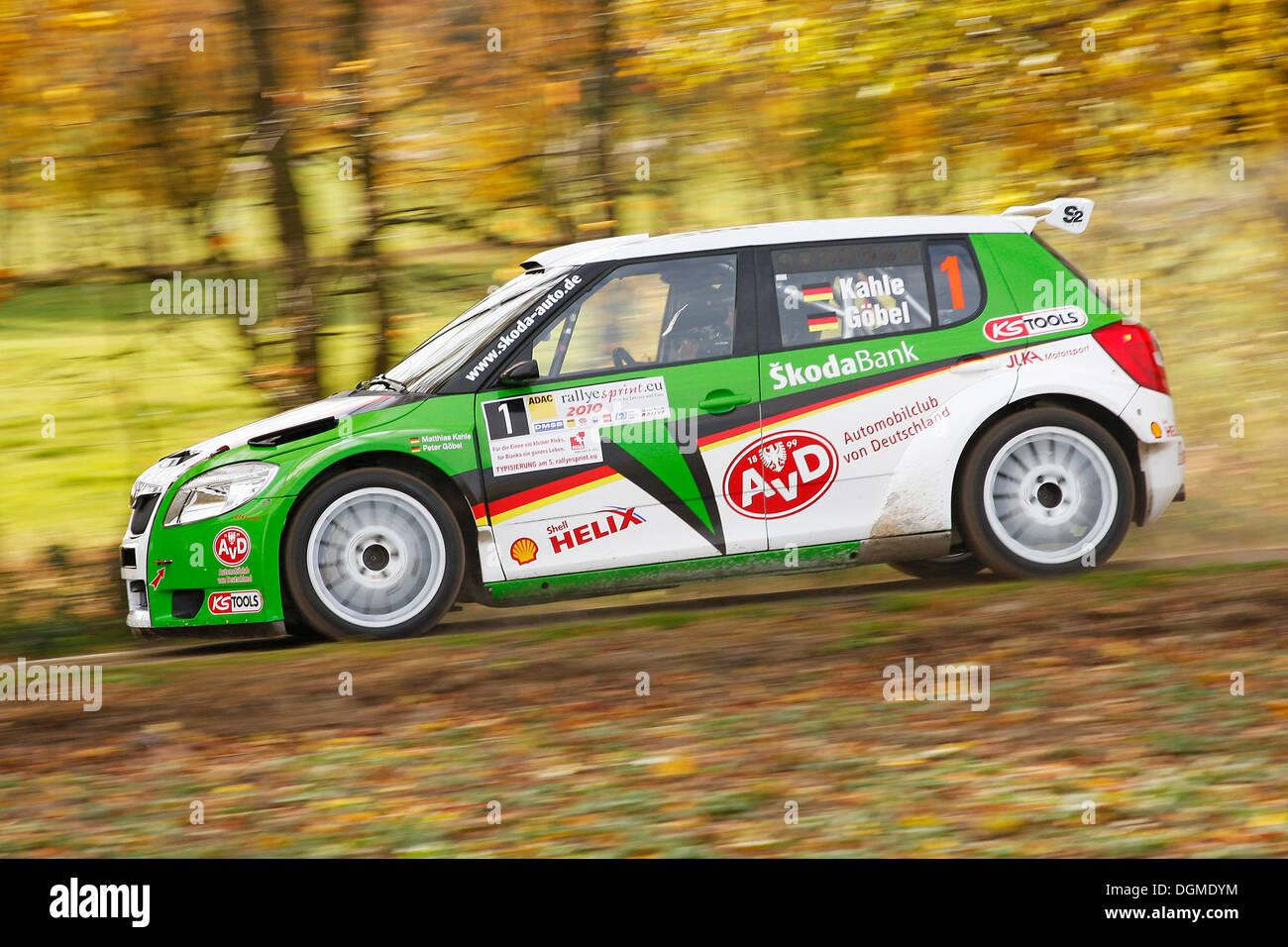 Skoda Fabia S2000, driven by Matthias Kahle, German Rally Champion 2010, Rallye Stehr Rallyesprint 2010, Hesse - Stock Image