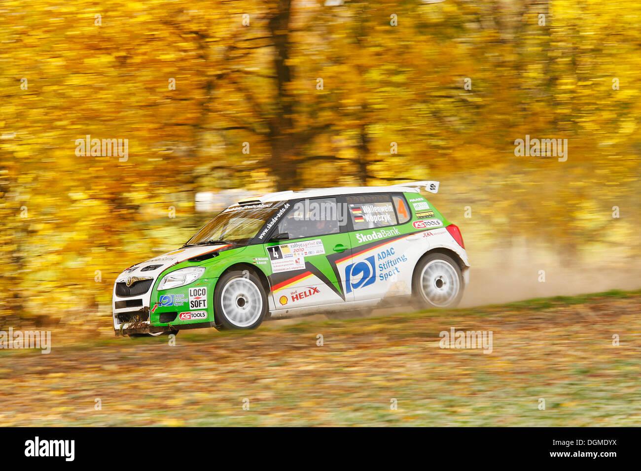 Skoda Fabia S2000, driven by Sandra Wallenwein, German Rally Vice Champion 2010, Rallye Stehr Rallyesprint 2010, Hesse - Stock Image