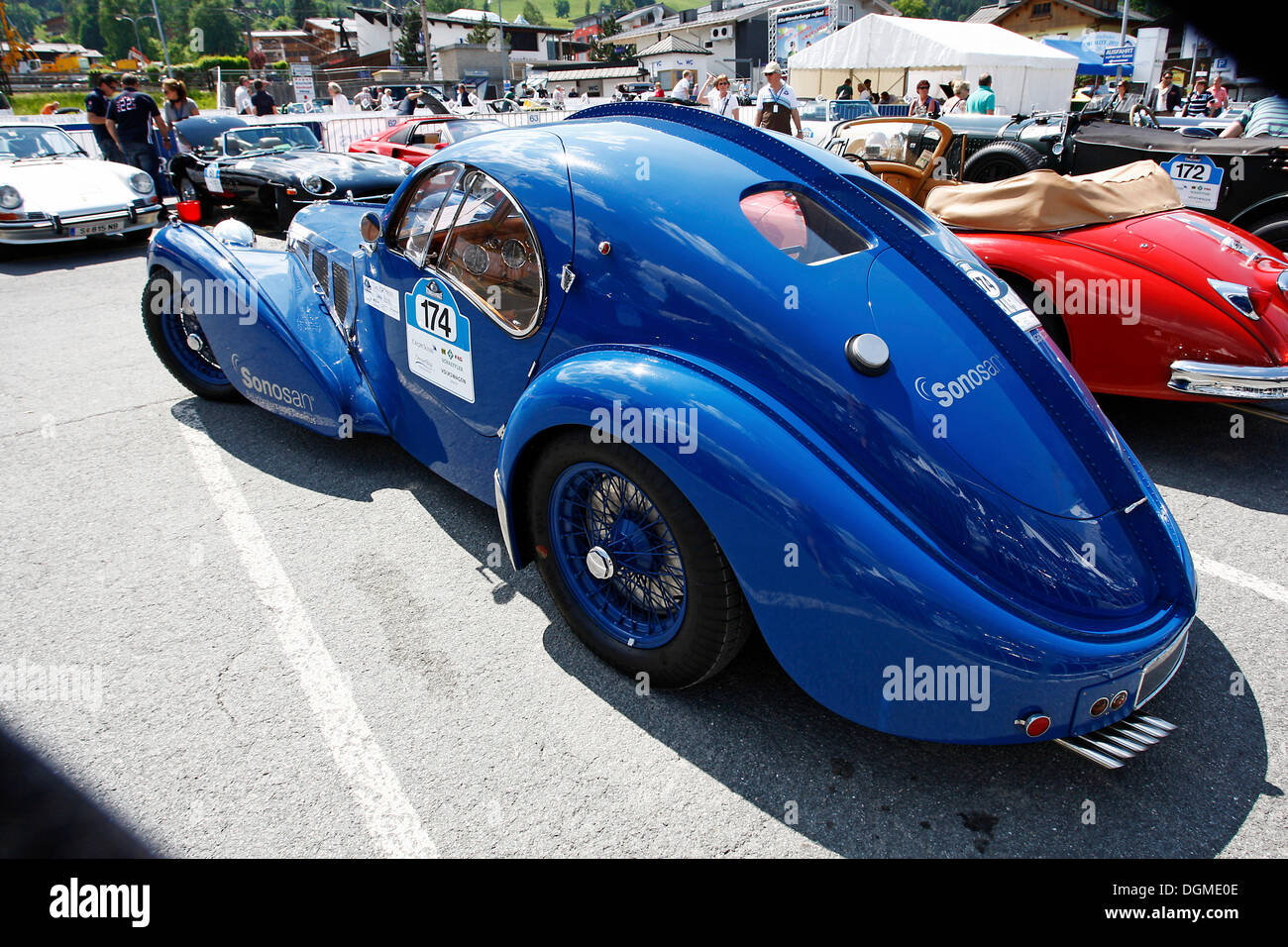 Bugatti 57 SC Atlantic, 1937 model, iconic car, only four cars ever produced, this being the fourth, re-built from original - Stock Image