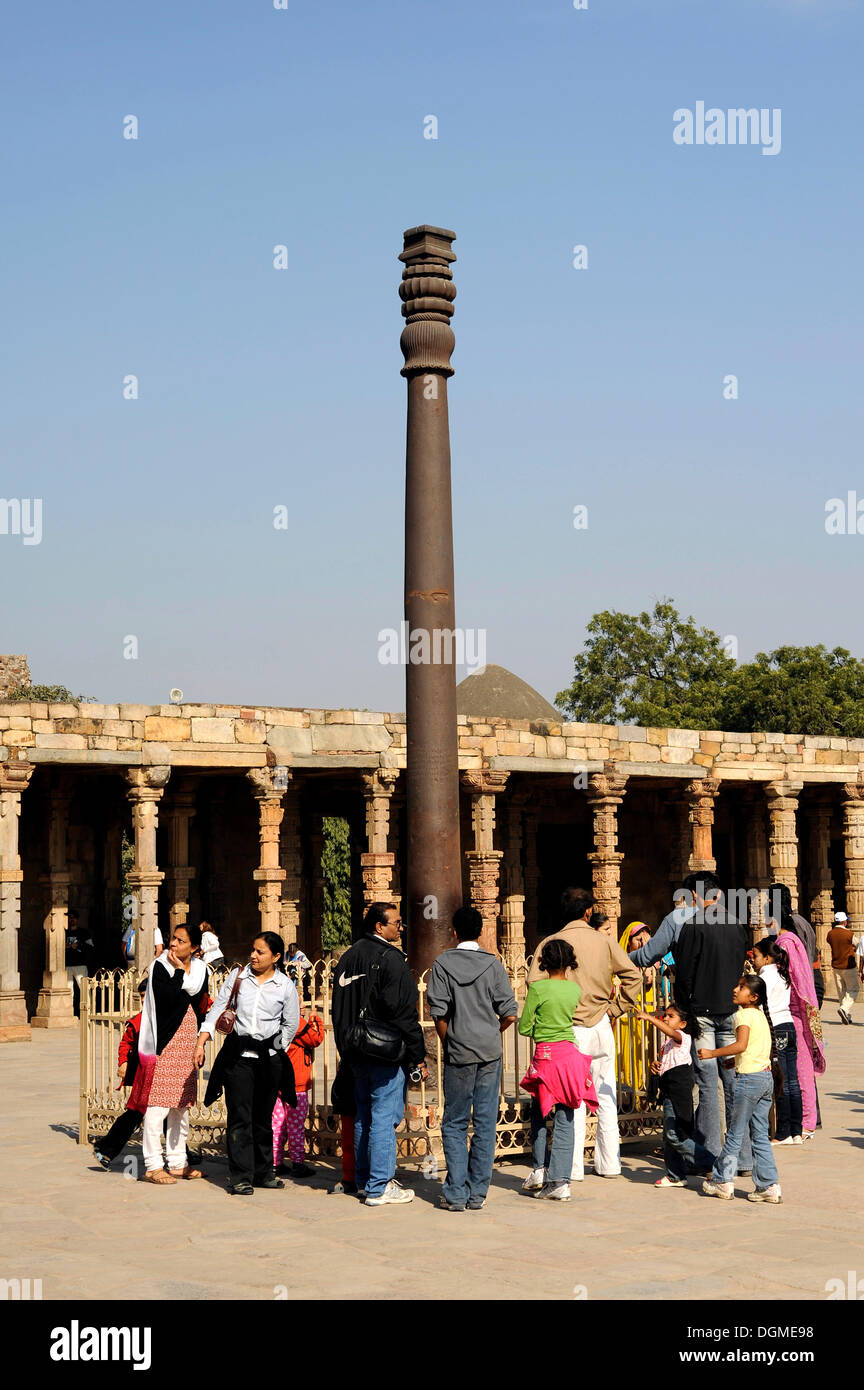 Iron pillar, Qutb Complex, Mehrauli Archaeological Park, Delhi, Uttar Pradesh, North India, India, South Asia, Asia - Stock Image