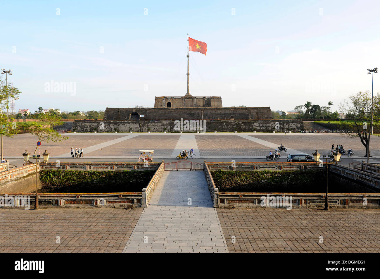 Citadel of the Imperial City in Hue, flagpole, Hue, North Vietnam, Vietnam, Southeast Asia, Asia - Stock Image